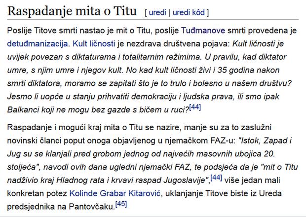 Teza o Titu potkrijepljena citatom s portala dnevno.hr