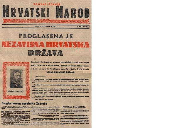 """Posebno izdanje """"Hrvatskog naroda"""" od 10. travnja 1941."""