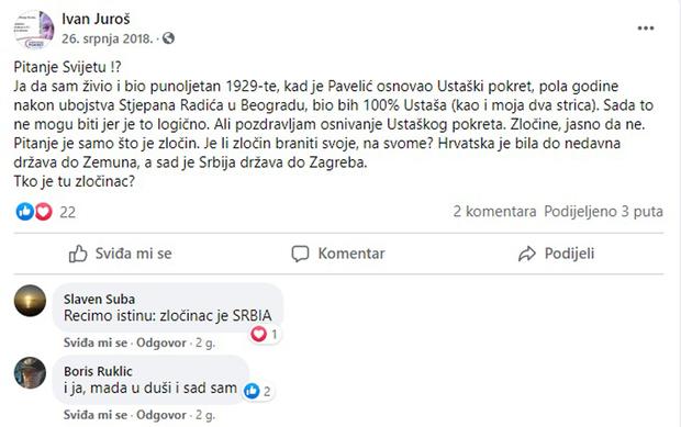 Ivan Juroš bio bi 100 posto ustaša