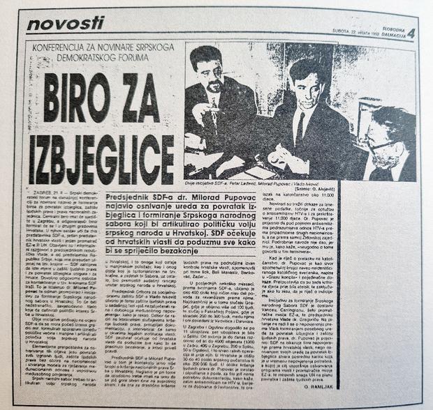 Izvještaj Slobodne Dalmacije sa SDF-ove press-konferencije, 1992.